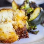 Mashed potatoes with roasted sprouts