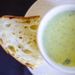 Soup served with ciabatta bread