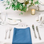 Wedding reception table with floral arrangement
